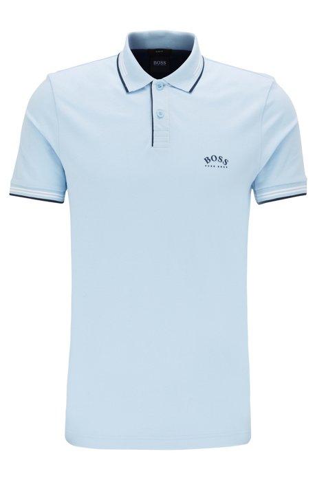 Slim-fit polo van stretchpiqué met gebogen logo, Lichtblauw