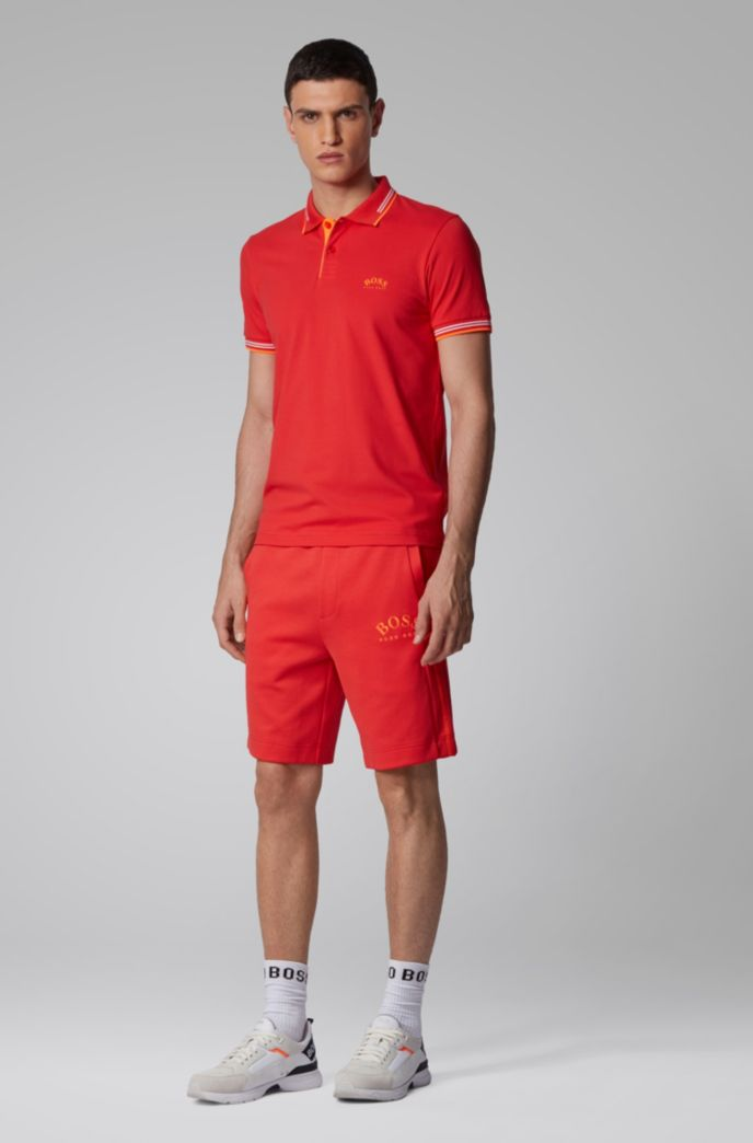 Polo Slim Fit en maille piquée stretch à logo incurvé