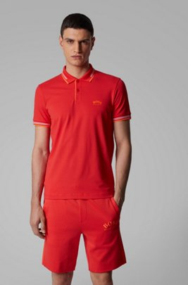 Polo Slim Fit en maille piquée stretch à logo incurvé, Rouge