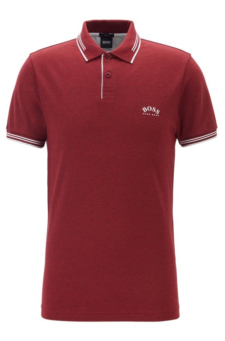 Slim-fit polo shirt in stretch piqué with curved logo, Dark pink