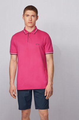 Slim-fit polo shirt in stretch piqué with curved logo, Pink