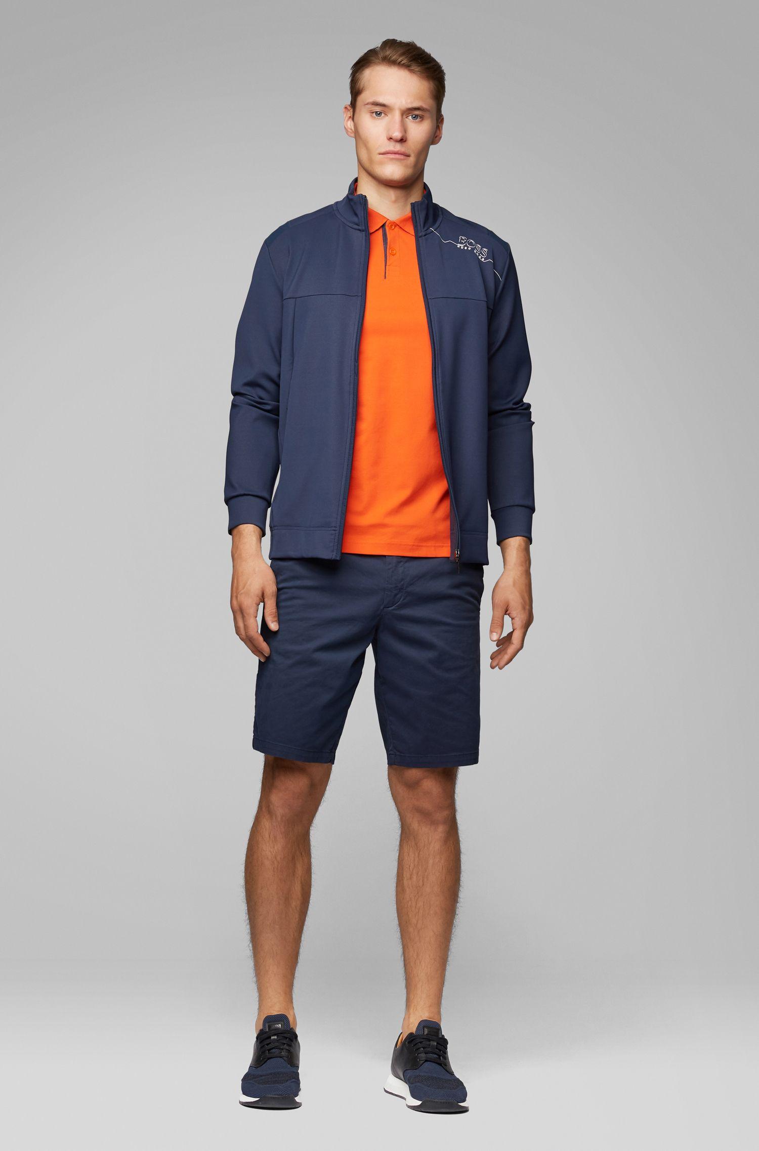 Polo Slim Fit en maille piquée stretch à logo incurvé, Orange