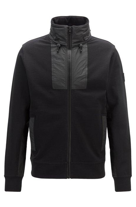 Veste Relaxed Fit en jersey à capuche Tyvek® dans le col, Noir