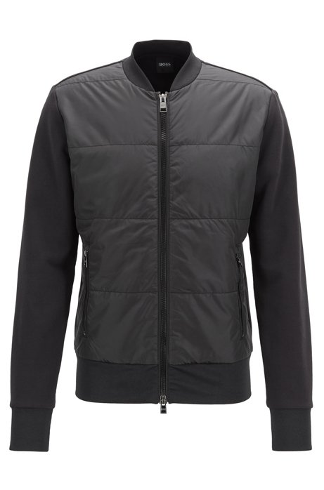 Regular-fit bomber-style sweatshirt with quilted front , Black
