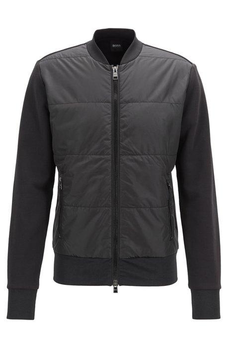 Regular-fit sweatshirt in bomberstijl met doorgestikte voorkant , Zwart