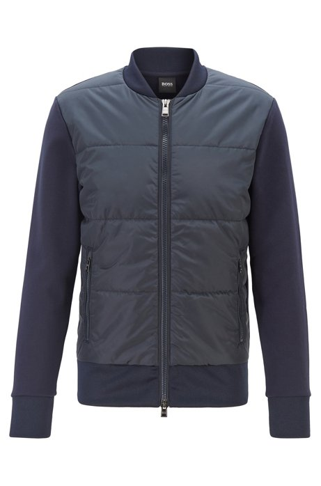 Regular-fit bomber-style sweatshirt with quilted front , Dark Blue