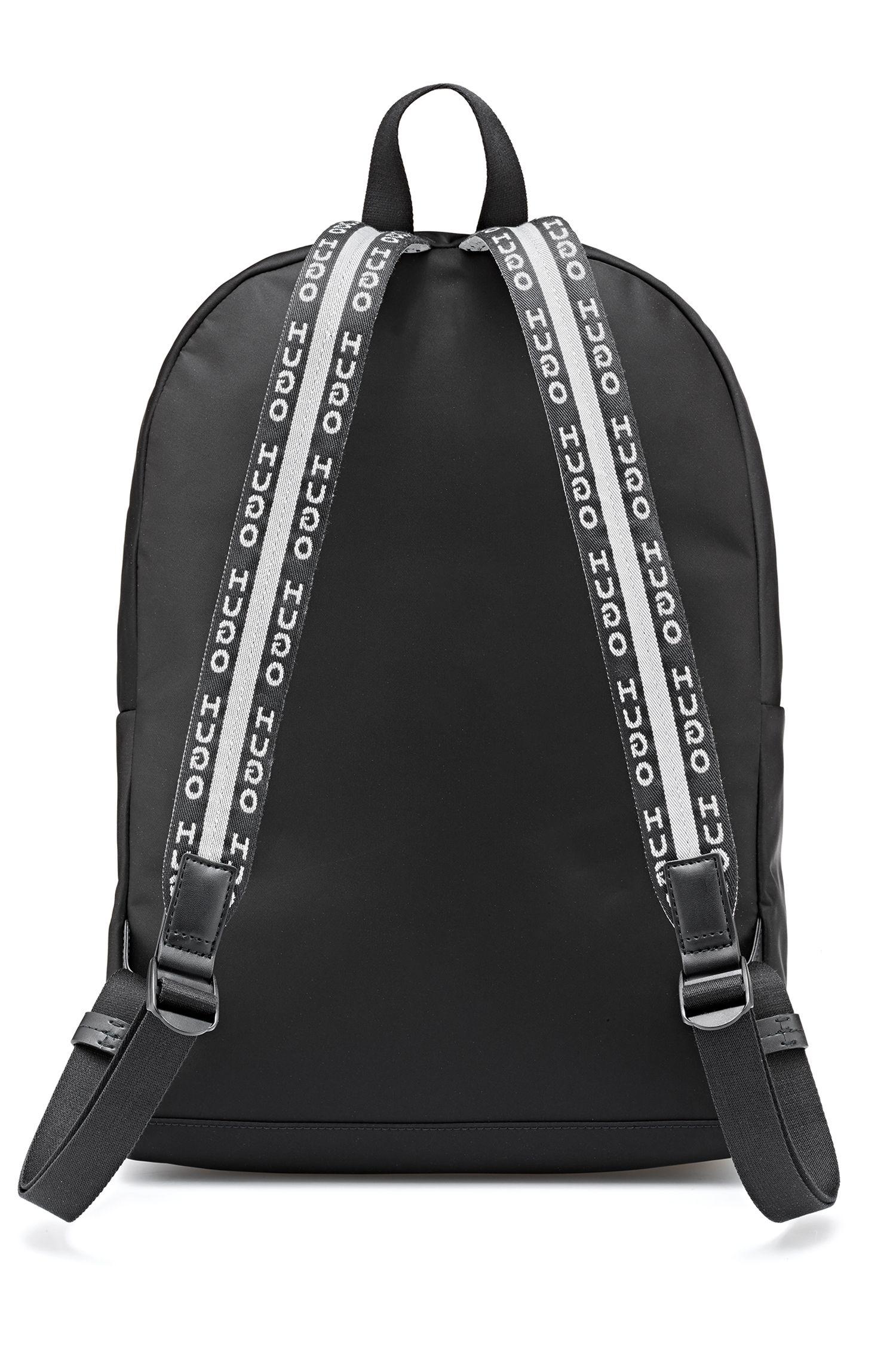 Sac à dos en gabardine technique avec bretelles logo, Noir