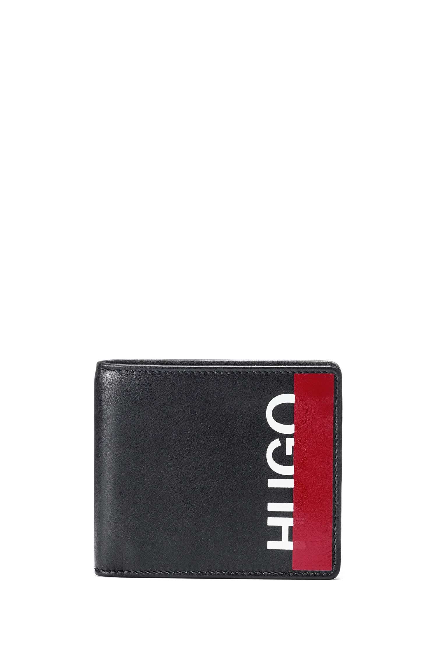 Billfold wallet in leather with cropped logo, Black
