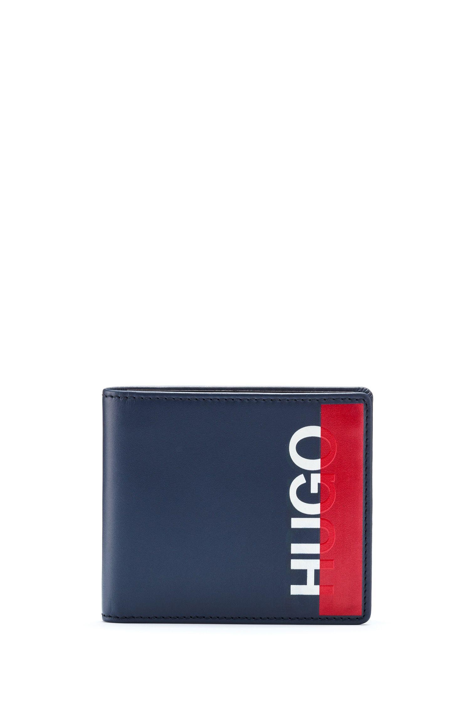 Uitklapbare portemonnee van leer met cropped logo, Donkerblauw