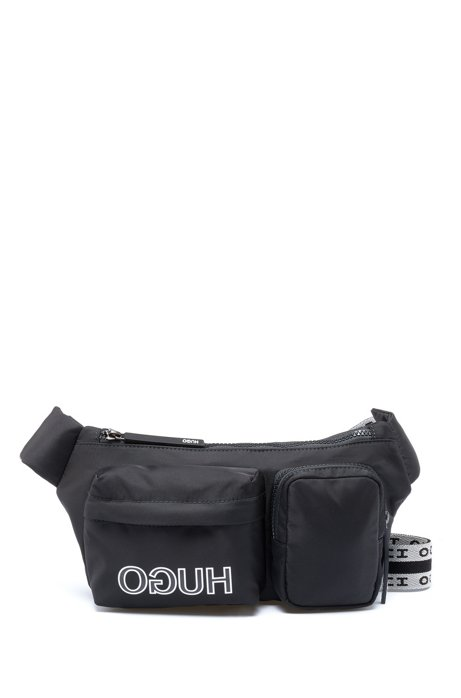 Adjustable belt bag in nylon garbardine with reversed logo, Black