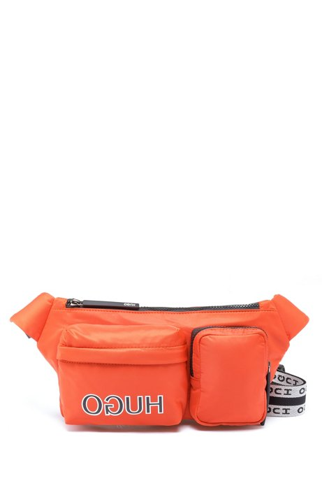 Sac ceinture ajustable en gabardine technique, à logo inversé, Orange