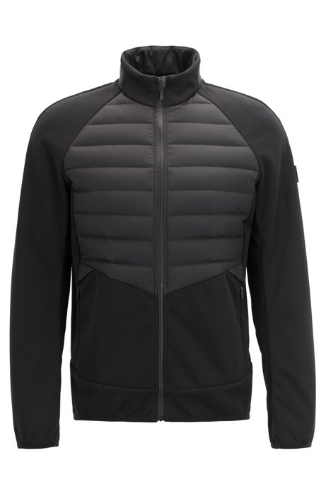 Slim-fit golf jacket with down-filled panels, Black