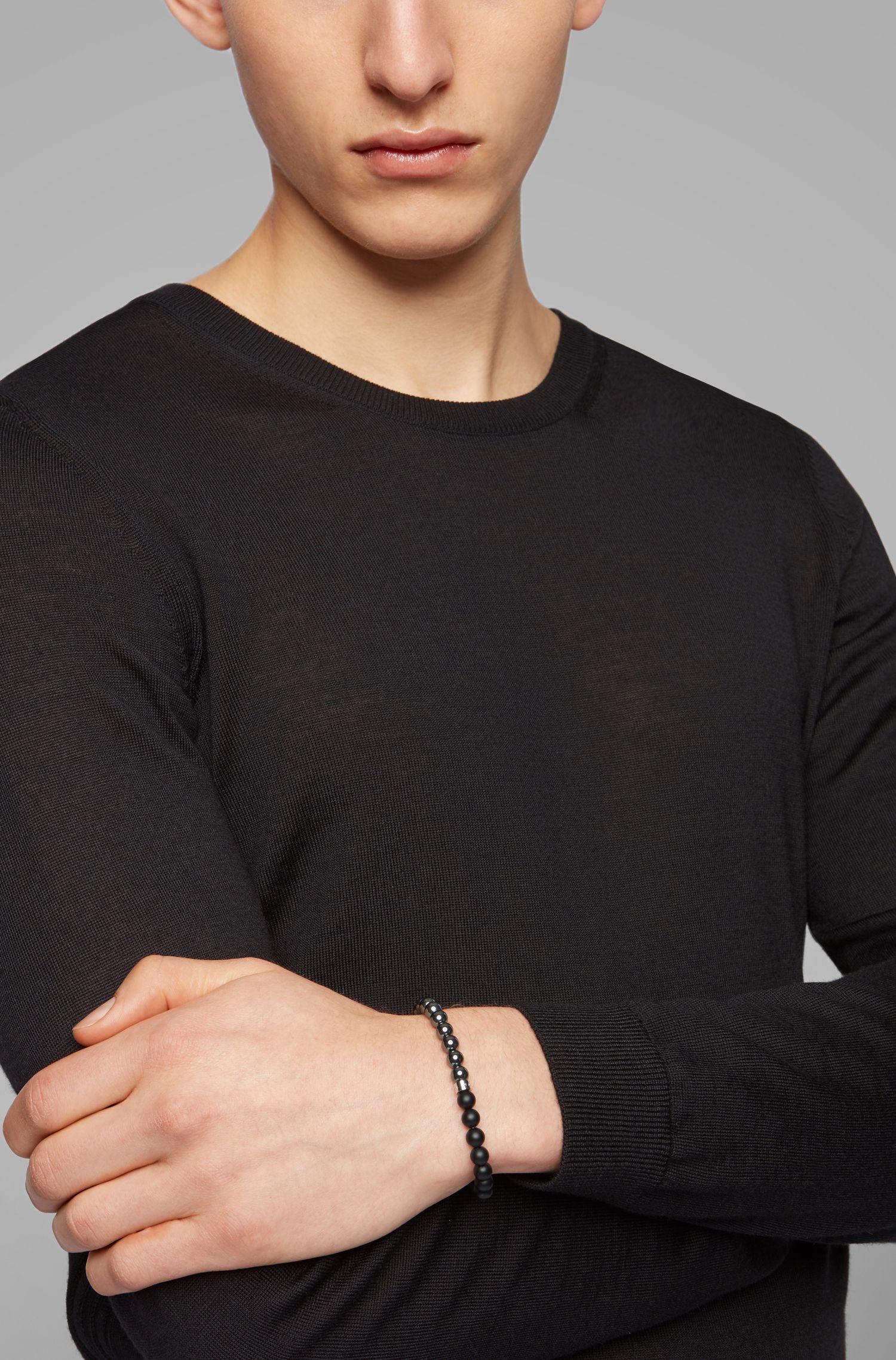 In Italië vervaardigde armband met kralen van agaat en hematiet, Zwart