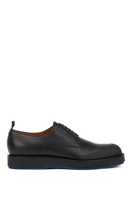 Italian-made Derby shoes in leather with rubberised bumper, Black