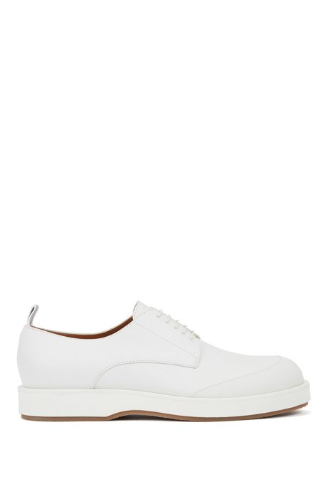 Italian-made Derby shoes in leather with rubberised bumper, White