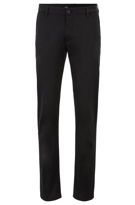 Slim-fit trousers in comfort-stretch cotton, Black
