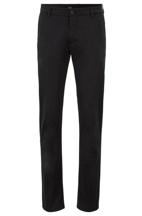 Pantaloni slim fit in comodo cotone elasticizzato, Nero