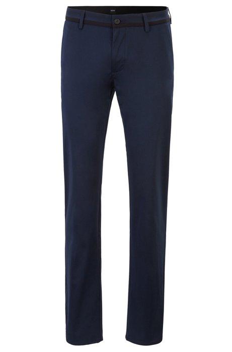 Pantaloni slim fit in comodo cotone elasticizzato, Blu scuro