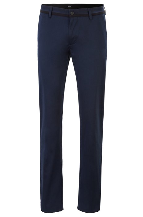 Slim-fit trousers in comfort-stretch cotton, Dark Blue