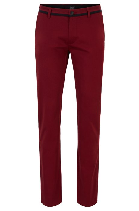 Slim-fit trousers in comfort-stretch cotton, Red