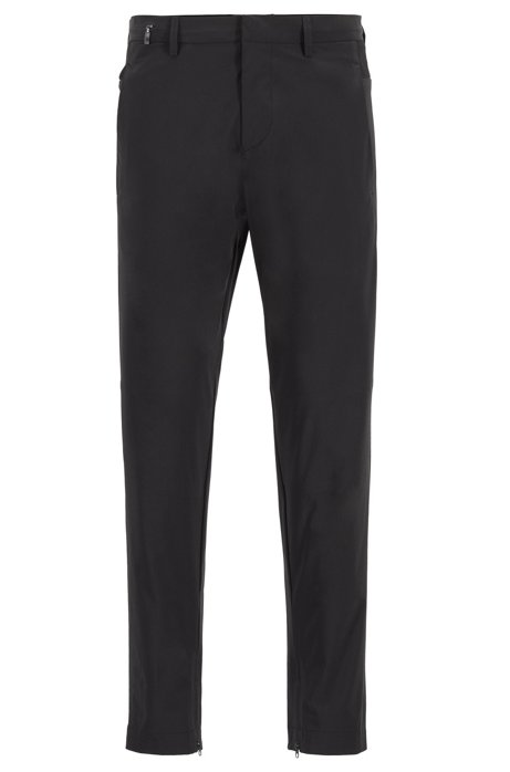 Tapered-fit trousers in travel-friendly bi-stretch fabric, Black