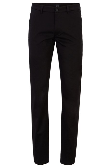 Regular-fit trousers in stretch cotton, Black