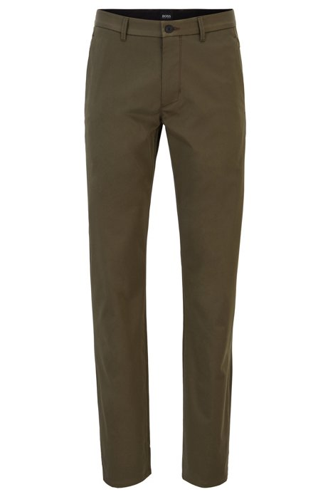 Regular-fit trousers in stretch cotton, Dark Green