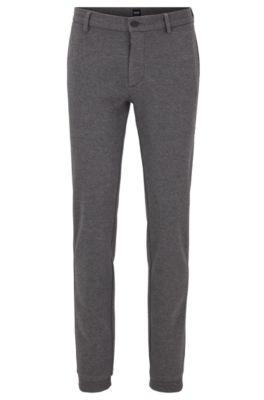 Slim-Fit Hose aus italienischem Jersey mit Tunnelzug, Grau