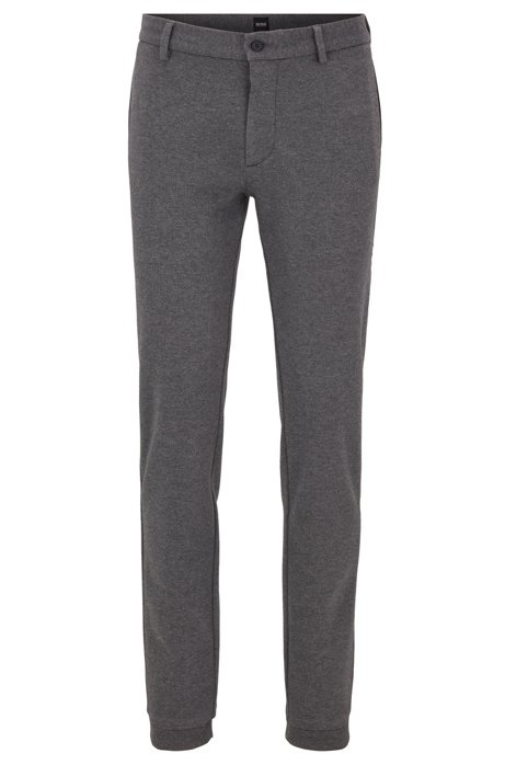 Slim-fit trousers in Italian jersey with drawcord, Grey