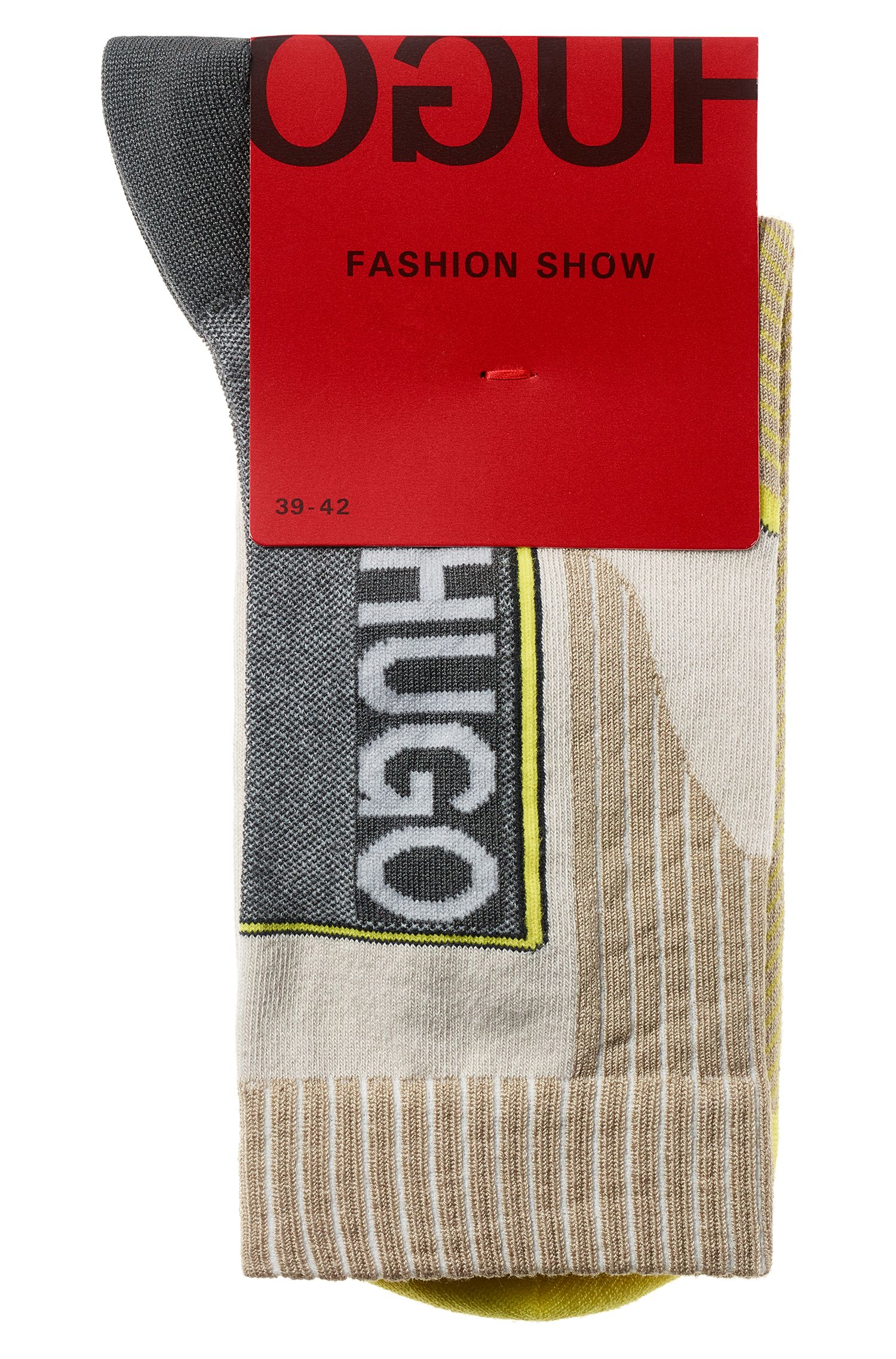 Fashion Show logo socks in a stretch-cotton blend, Patterned