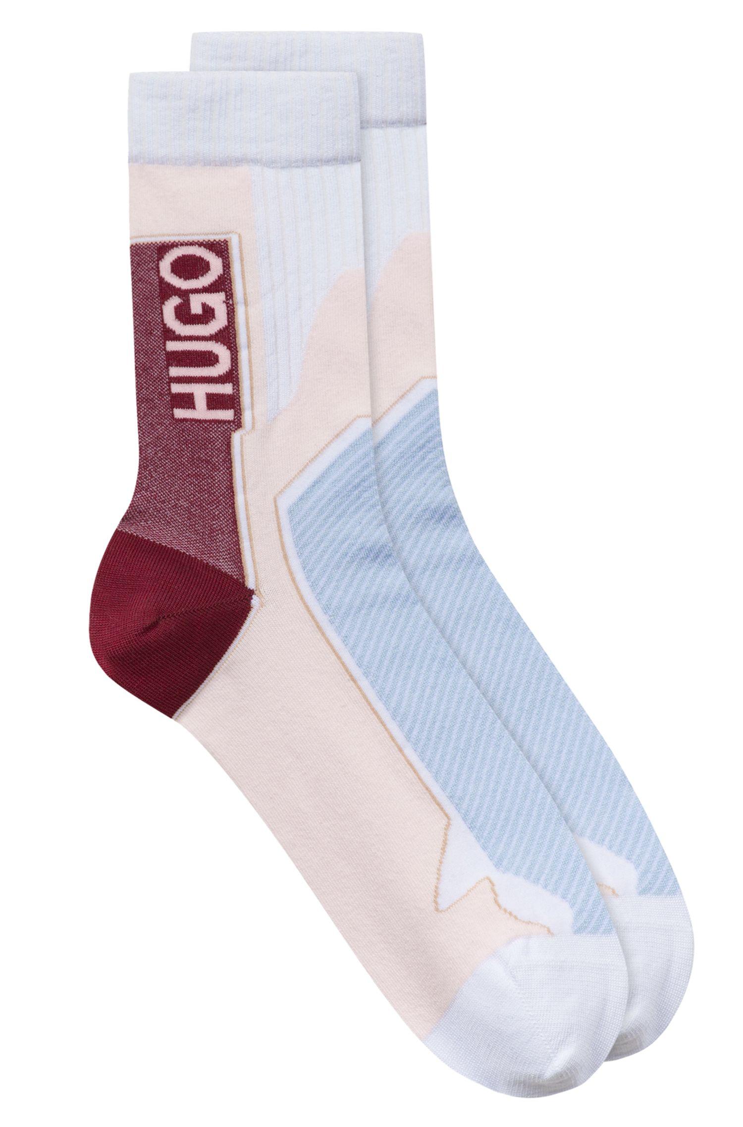 Fashion Show Socken aus elastischem Baumwoll-Mix mit Logo, Hellrosa