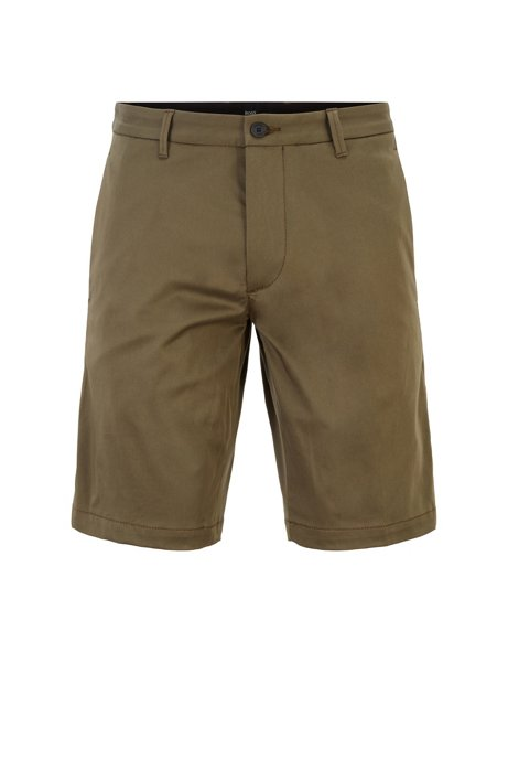 Slim-fit shorts in stretch cotton with technical trims, Dark Green