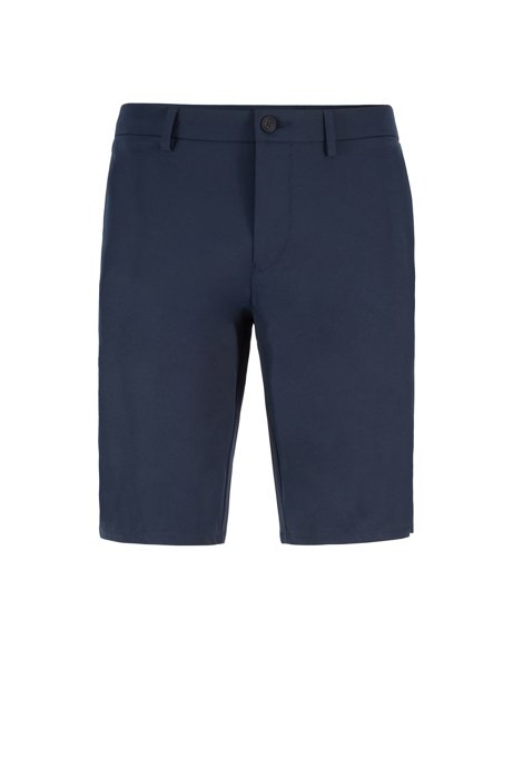 Slim-fit shorts with seasonal-print inserts, Dark Blue