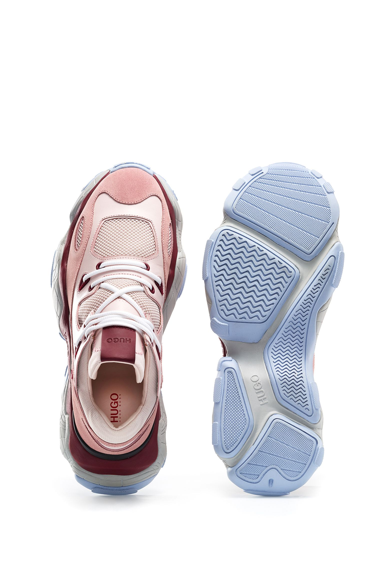 Lace-up trainers in mixed leather with mesh detailing, light pink
