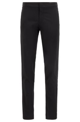 Slim-Fit Hose aus knitterfreiem Stoff, Schwarz