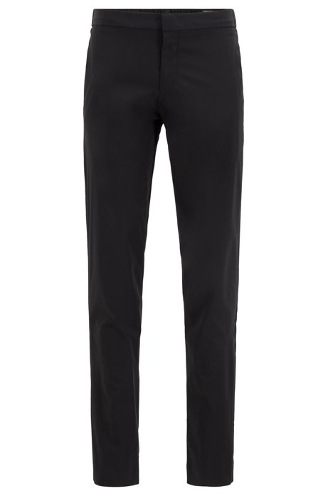 Slim-fit trousers in anti-wrinkle fabric, Black