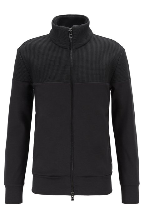 Zip-through sweatshirt with structured panels, Black