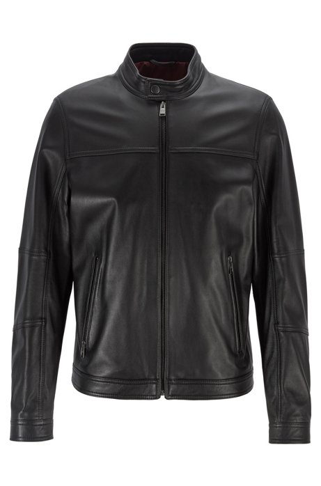 Regular-fit blouson jacket in nappa leather, Black