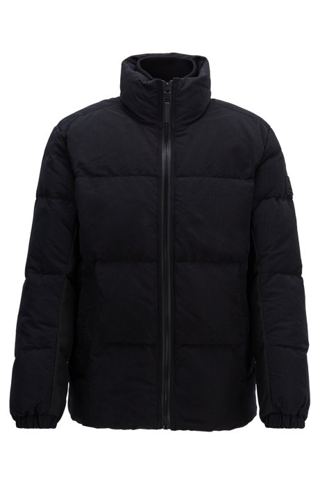 Water-repellent down jacket in waxed ripstop fabric, Black