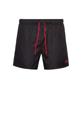 Quick-dry swim shorts with rubber logo badge, Black