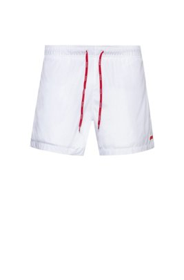Quick-dry swim shorts with rubber logo badge, White
