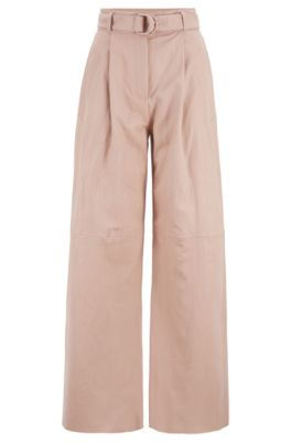 Pantalon long Relaxed Fit en cuir nappa, issu de la collection Fashion Show, Rose clair