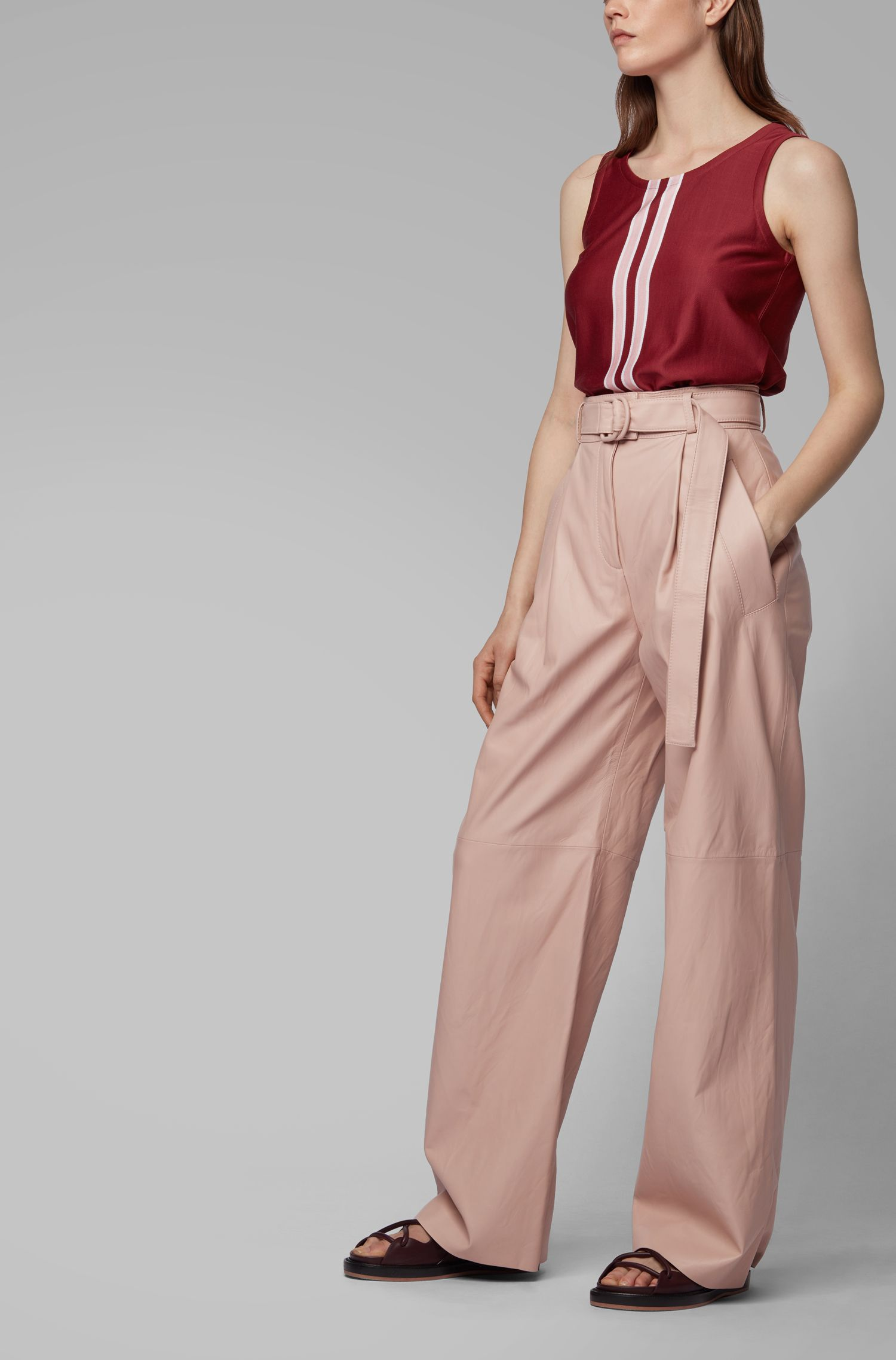 Fashion Show relaxed-fit long-length trousers in nappa leather, light pink