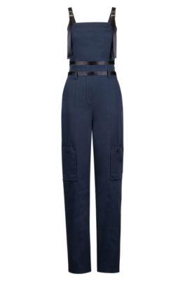 Mono Fashion Show en algodón elástico con bolsillos cargo, Azul