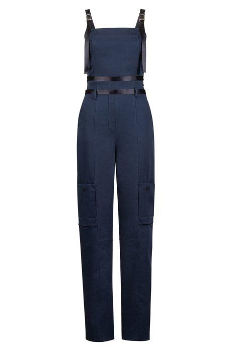 Tuta jumpsuit della capsule Fashion Show in cotone elasticizzato con tasche cargo, Blu