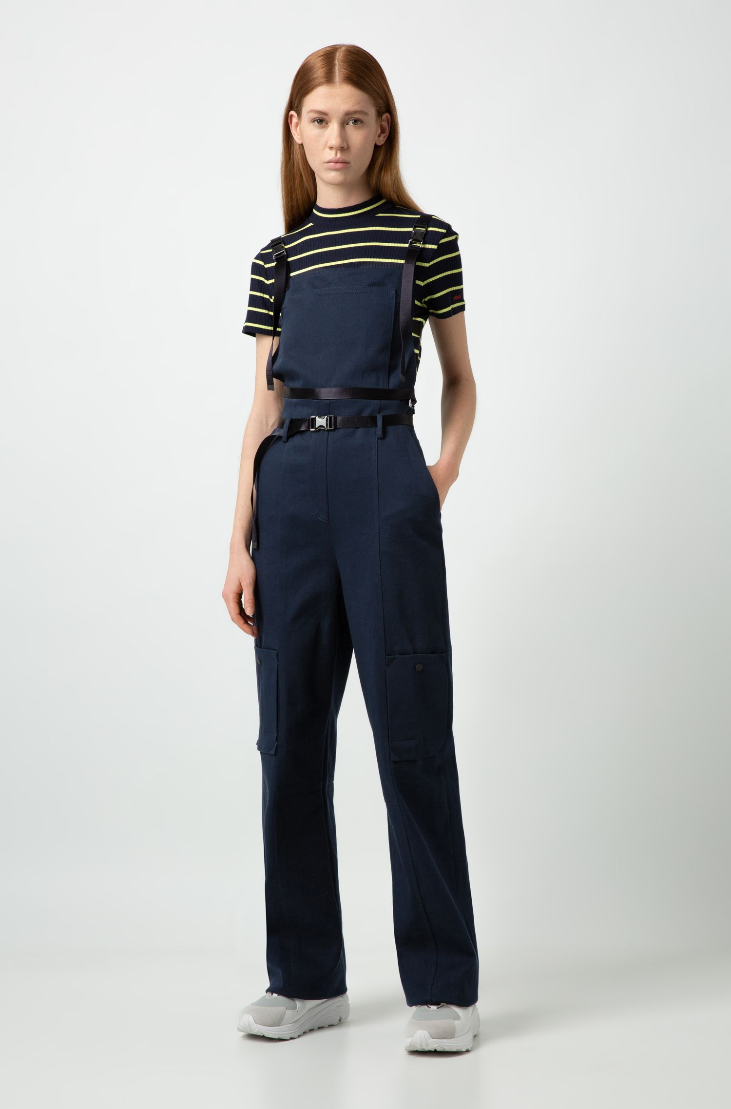 Fashion Show jumpsuit in stretch cotton with cargo pockets, Blue