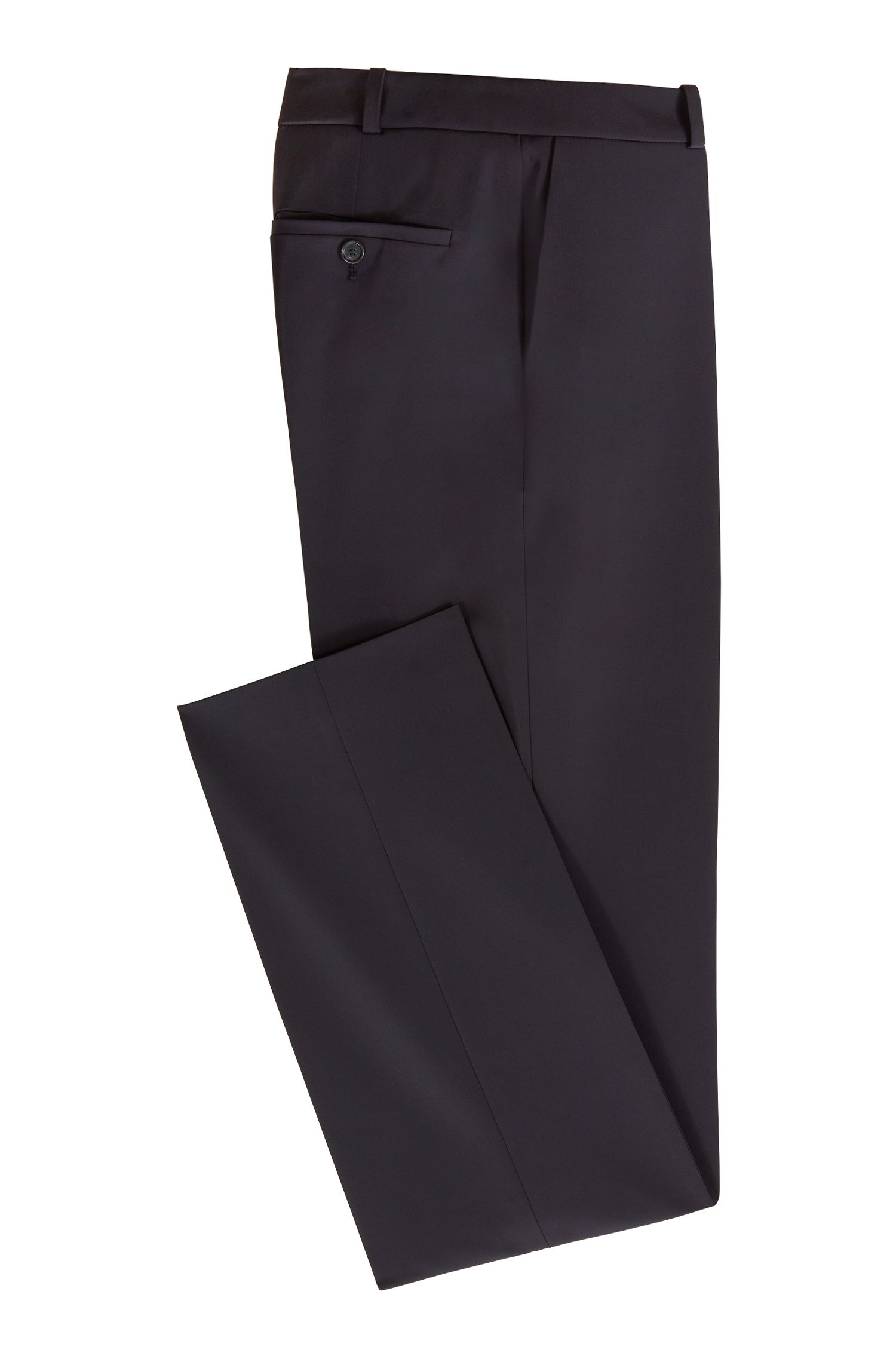 Pantalon Relaxed Fit en twill stretch italien, issu de la collection Fashion Show, Bleu foncé