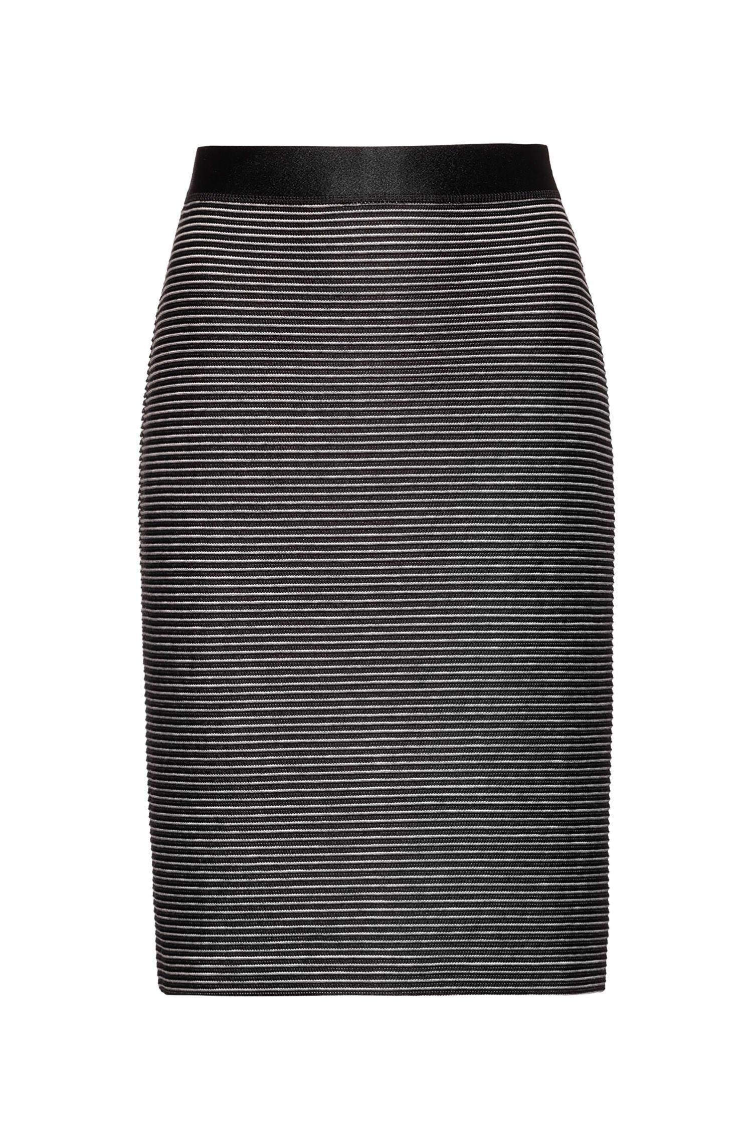 Jupe courte en jersey ottoman à taille haute, Noir