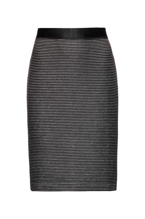 High-rise mini skirt in ottoman jersey, Black
