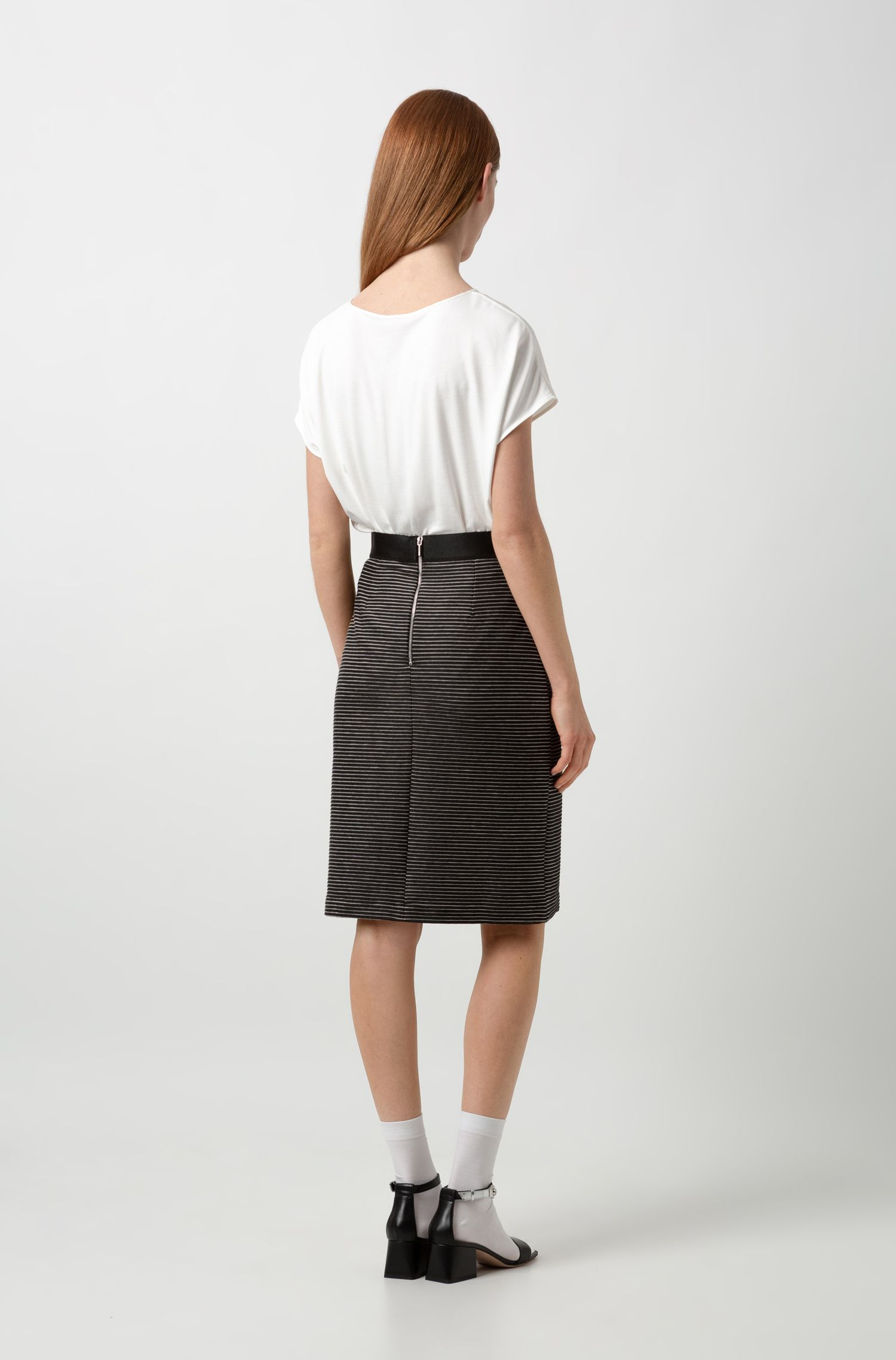 High-rise mini skirt in ottoman jersey, Black